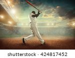baseball players in action on... | Shutterstock . vector #424817452