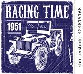 vector vintage sport racing car ... | Shutterstock .eps vector #424819168