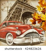 paris vintage poster. | Shutterstock . vector #424823626