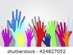dancing hands crowd vector | Shutterstock .eps vector #424827052