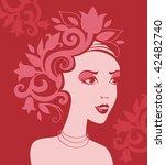 woman silhouette in flowers | Shutterstock .eps vector #42482740