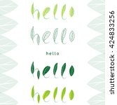 hello lettering  made with leaf.... | Shutterstock .eps vector #424833256