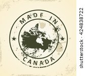 grunge stamp with map of canada ... | Shutterstock .eps vector #424838722
