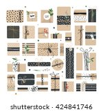 big set of different boxes of... | Shutterstock .eps vector #424841746