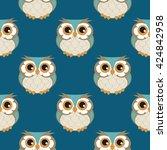 owl seamless pattern. | Shutterstock .eps vector #424842958