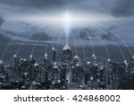city scape and connection... | Shutterstock . vector #424868002