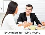 businessman and  businesswoman  ... | Shutterstock . vector #424879342