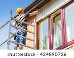 construction worker on... | Shutterstock . vector #424890736