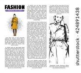 poster with  trendy girl in... | Shutterstock .eps vector #424891438