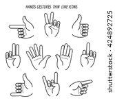 hands gestures black thin line... | Shutterstock .eps vector #424892725