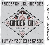 ginger gin typeface with... | Shutterstock .eps vector #424894516