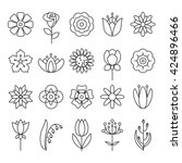 Stock vector  universal flower icons to use in web and mobile ui different kinds of flowers 424896466
