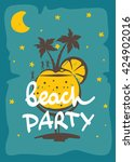 party on the beach funny... | Shutterstock .eps vector #424902016