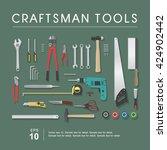 set of craftsman tools  vector... | Shutterstock .eps vector #424902442