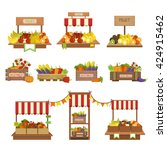 Vegetables Market Stands Set O...