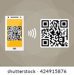 qr code scanning by mobile... | Shutterstock . vector #424915876