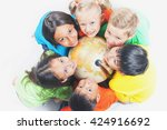 group of international happy... | Shutterstock . vector #424916692