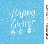 easter blue background with... | Shutterstock . vector #424916896