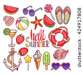 cute set of summer symbols.... | Shutterstock .eps vector #424917808