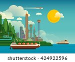 futuristic city by the coast.... | Shutterstock .eps vector #424922596