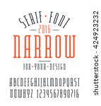 narrow serif font and numbers.... | Shutterstock .eps vector #424923232