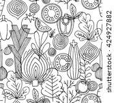 vegetables seamless pattern.... | Shutterstock .eps vector #424927882