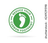 Stock vector reduce your carbon footprint icon symbol with green environment footprint badge vector 424929598