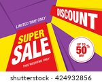 super sale banner  poster. sale ... | Shutterstock .eps vector #424932856