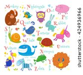 set of english zoo alphabet... | Shutterstock .eps vector #424936966