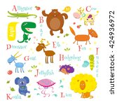 set of english zoo alphabet... | Shutterstock .eps vector #424936972