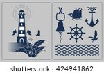 vector collection of nautical... | Shutterstock .eps vector #424941862