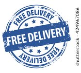 free delivery blue rubber stamp ... | Shutterstock . vector #424967086
