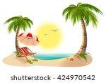 beach chaise longue under palm... | Shutterstock . vector #424970542