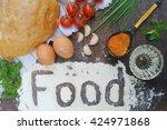 food composition. bread ... | Shutterstock . vector #424971868