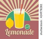 colorful vintage lemonade label ... | Shutterstock .eps vector #424978282