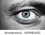 Image Of Man's Eye With Time...