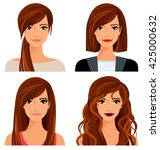 young woman with different... | Shutterstock .eps vector #425000632