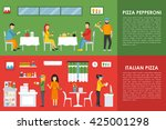 pepperoni and italian pizza... | Shutterstock .eps vector #425001298