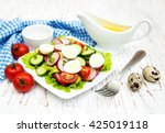 spring salad with eggs ...   Shutterstock . vector #425019118