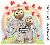 Cute Cartoon Elephant And Two...