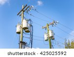 two electricity poles with... | Shutterstock . vector #425025592