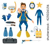 scuba diving vector equipment | Shutterstock .eps vector #425026156