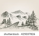Nature Drawing  A Hut In The...
