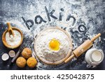 Baking Ingredients. Bowl  Eggs...