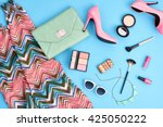 urban summer girl colorful... | Shutterstock . vector #425050222