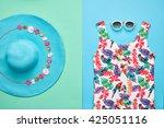 beach background.summer girl... | Shutterstock . vector #425051116
