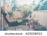 lazy   relaxed blond woman... | Shutterstock . vector #425058922