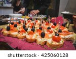 home made canapes small... | Shutterstock . vector #425060128