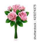 bouquet of five pink roses with ... | Shutterstock .eps vector #425074375