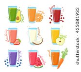 set juices from fruits and... | Shutterstock .eps vector #425081932